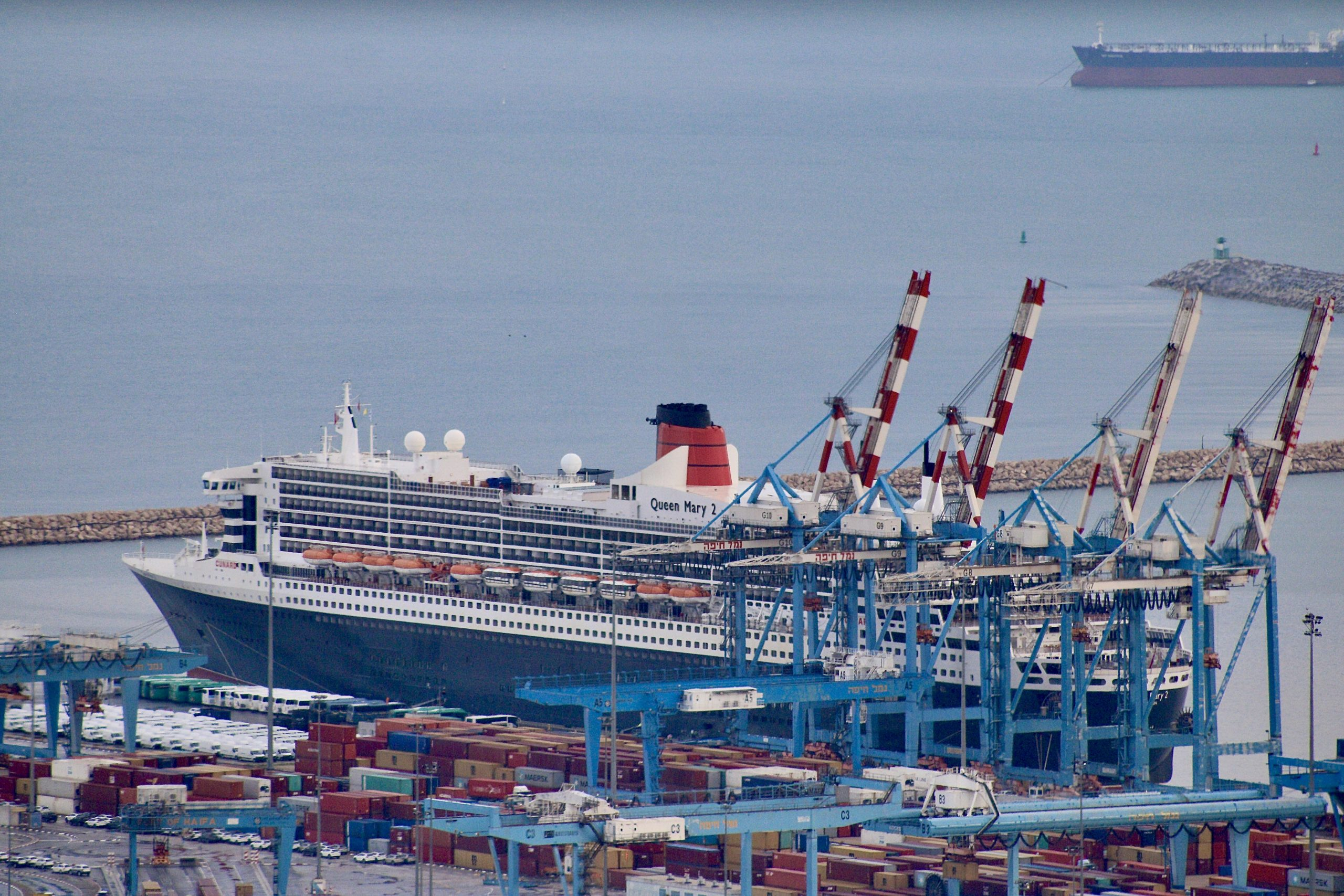 RMS Queen Mary 2, a British transatlantic cruise liner, the flagship of Cunard Line