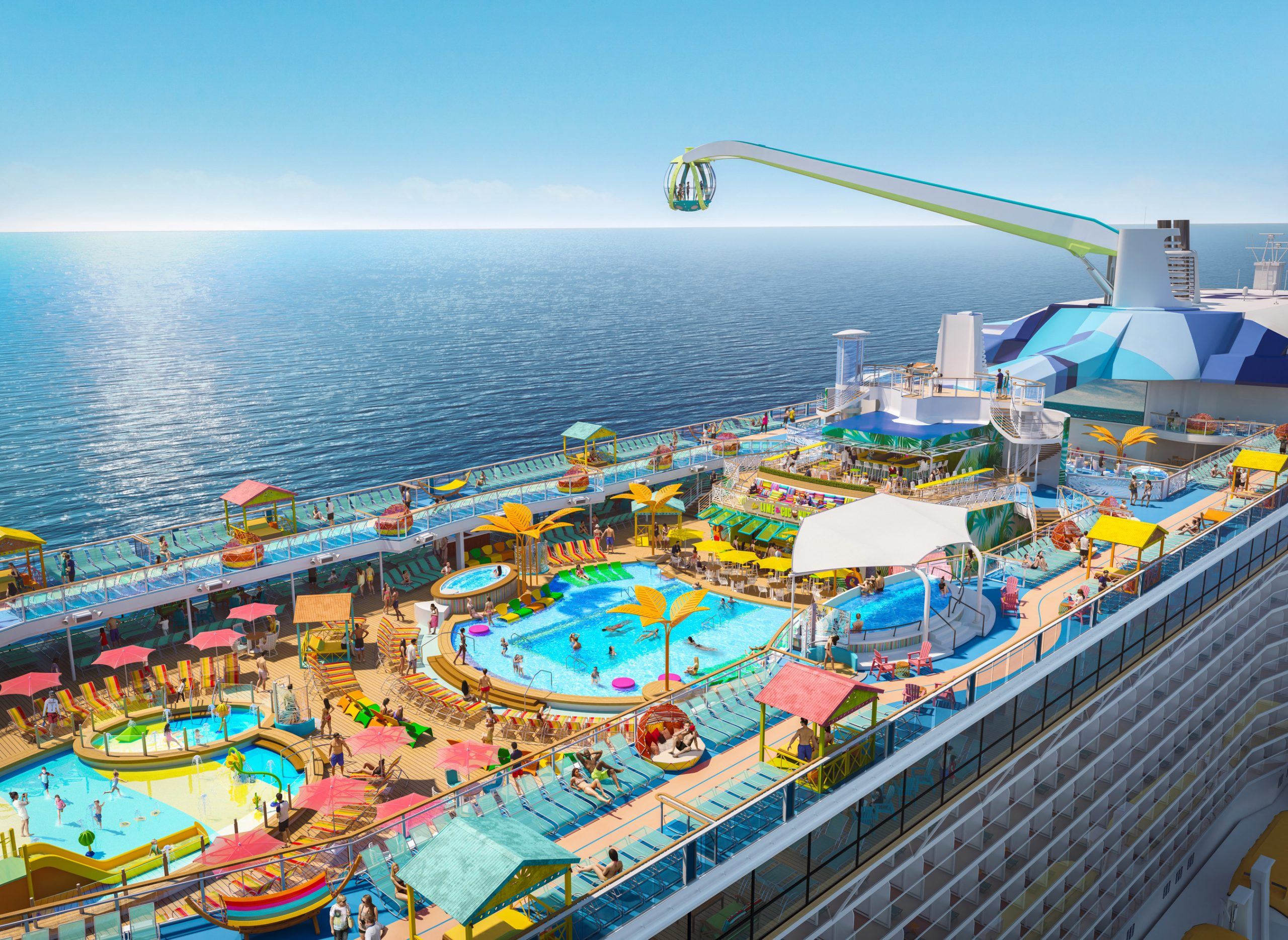 Debuting May 2021 in Haifa, Israel for her inaugural summer season, Odyssey of the Seas will tout a vibrant, two-level pool deck, where two resort-style pools, a kids aqua park and four whirlpools are surrounded by shady casitas and hammocks, perfect for enjoying the sea breeze under the sun and stars.
